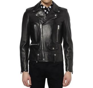 f80a5c47f8 Saint-Laurent-Paris-YSL-Slim-Fit-black-Leather-Biker-Jacket-2-327 ...